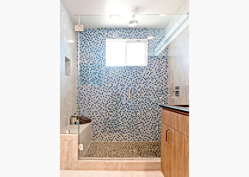 Blue tile bath remodel