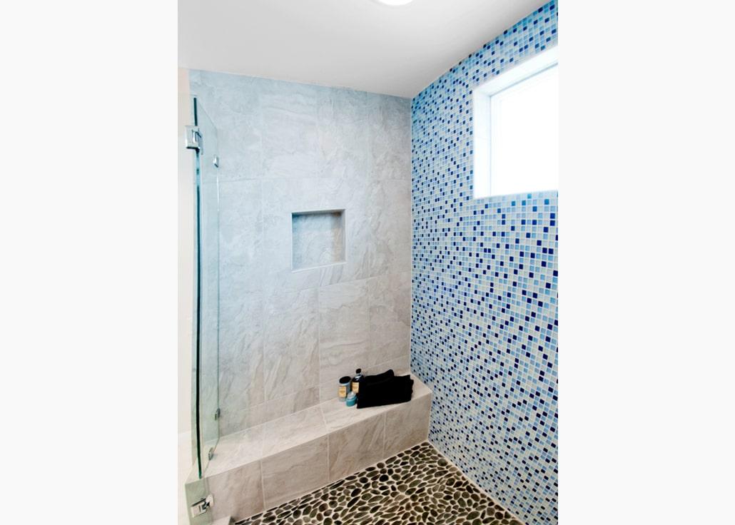 Blue tile bath remodel
